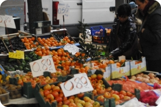 Fruits and vegetables at outside food market