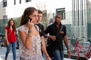 Students walking and talking