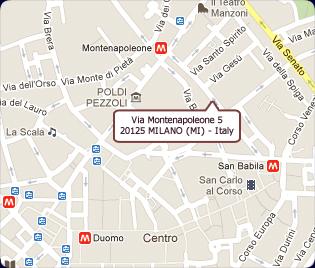 Map of the Via Monte Napoleone area