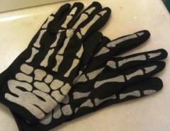Black gloves with painted bones