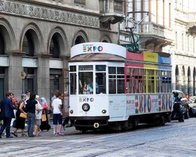 Tram on Milan street with Expo sign