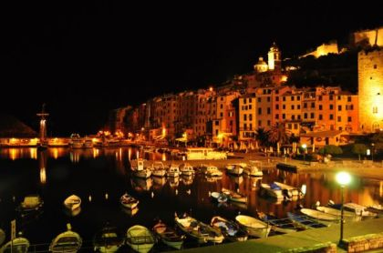 Italian seaside town at night