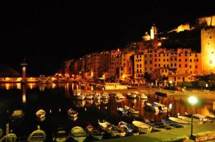 Italian seaside town at night