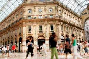 Pedestrians in the gallery