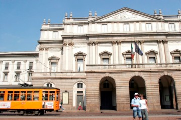 Outside view of La Scala with tram