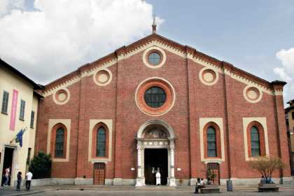 Facade of church in red brick