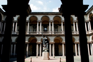 Courtyard and statue at Brera