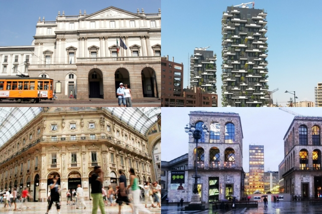 Collage of sights around Milan