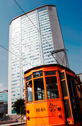 Skyscraper and tram