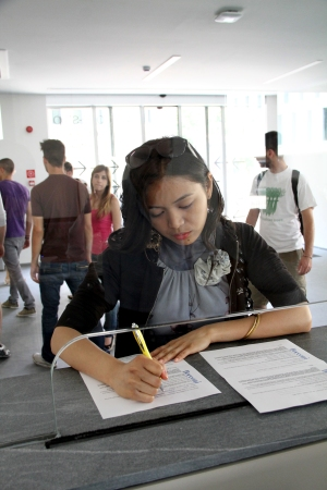 Student filling out forms