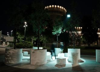 Night view of castle and benches