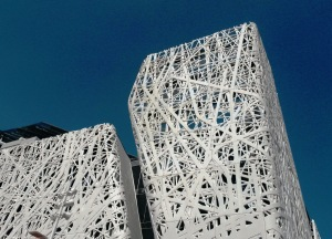White pavilion against blue sky