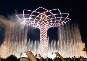 Tree of Life with white lights and water