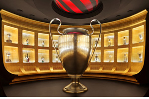 Cup and exhibit from AC Milan museum