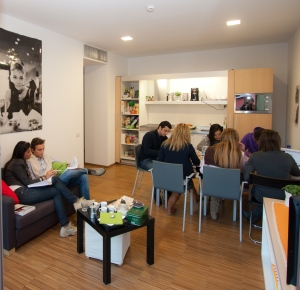 Students studying in common room