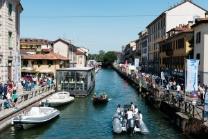 View of Navigli during boat fair